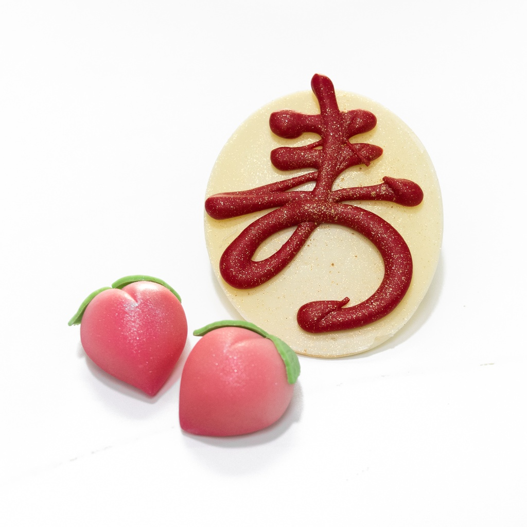 Pair of fondant icing Peach and Red Chocolate Sou